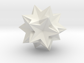 Compound of Ten Tetrahedra - 1 Inch in White Natural Versatile Plastic