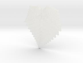 3D Fractal Leaf Pendant in Smooth Fine Detail Plastic