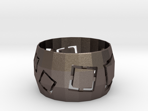 Squares Ring in Polished Bronzed Silver Steel