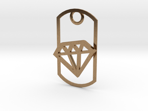 Diamond dog tag in Natural Brass