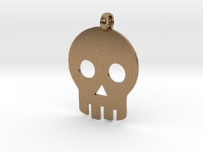 Skull necklace charm in Natural Brass