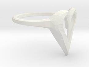 FLYHIGH: Skinny Heart Ring 11mm in White Natural Versatile Plastic