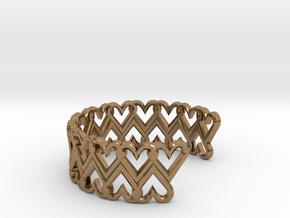 FLYHIGH: Open Heart Double Bracelet in Natural Brass