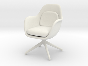 1:12 Miniature Swoon Chair Swivel Base  in White Natural Versatile Plastic