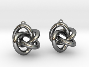 Torus Knot Type 3 Earrings in Polished Silver