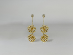 Fennel earring with two small flowers in 18k Gold Plated Brass