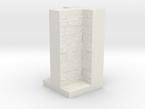 A modular dungeon T-Wall tile in White Natural Versatile Plastic