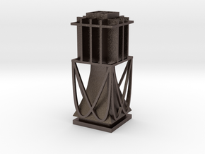 Table Lamp in Polished Bronzed Silver Steel