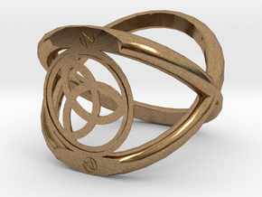 Wiccan Power Of Three Ring in Natural Brass