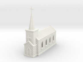 N Scale Small Church with Steeple 1:160 in White Natural Versatile Plastic