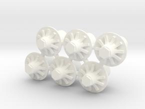 Generic Hubs 1:24 in White Processed Versatile Plastic