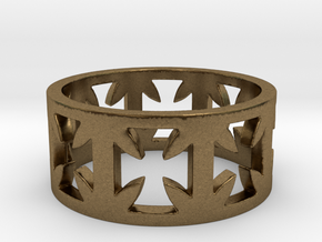 Outlaw Biker Cross Ring Size 10 in Natural Bronze