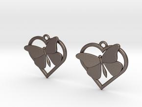 Heart Butterfly Earrings in Polished Bronzed Silver Steel