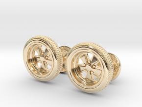 Cufflinks_Porsche_Fuchs_Pair_V1 in 14k Gold Plated Brass