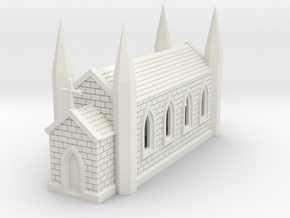 N Scale Church 1:160 in White Natural Versatile Plastic