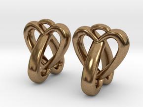 Interlocked Heart Earrings in Natural Brass