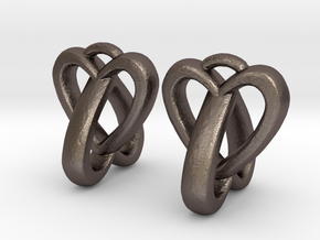 Interlocked Heart Earrings in Polished Bronzed Silver Steel