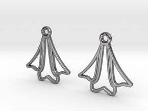 Bell flower [Earrings] in Polished Silver