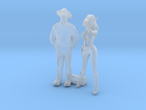 HO Scale Cowboy and Cowgirl in Smooth Fine Detail Plastic