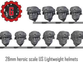 28mm Heroic US African-American Combat Helmets in Smooth Fine Detail Plastic: Small