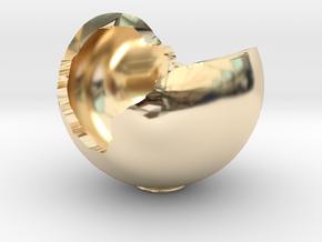 Miniature Ornament Broken Spherical Bowl in 14k Gold Plated Brass