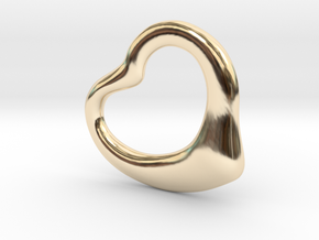 Open Heart Pandent, mini in 14K Yellow Gold
