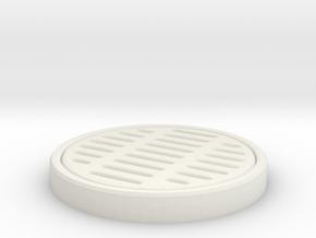 Circular storm drain in White Natural Versatile Plastic