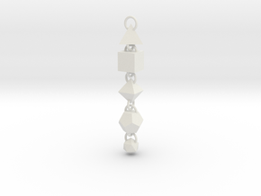 Platonic Solids Dangly Thing in White Natural Versatile Plastic