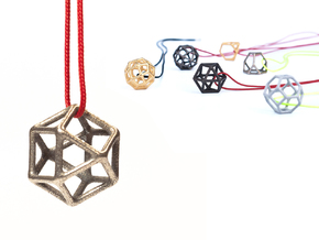 Polyhedral Jewelry: Cuboctahedron in Polished Bronzed Silver Steel