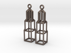 Metal Dom Earrings (Small) in Polished Bronzed Silver Steel