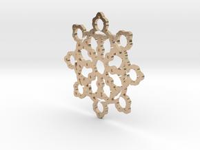 Mandelbrot Web Pendant 2 in 14k Rose Gold Plated Brass