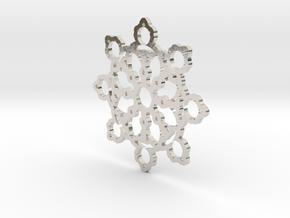 Mandelbrot Web Pendant 2 in Rhodium Plated Brass