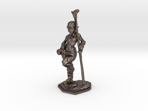 elven healer 39mm miniature in Polished Bronzed Silver Steel