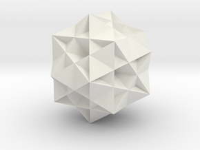 Great Ditrigonal Icosidodecahedron in White Natural Versatile Plastic