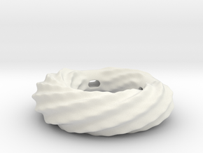 Twirly ring pendant (thick walls) in White Natural Versatile Plastic