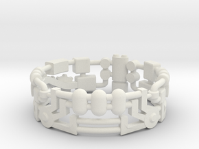 Mecha Ring (size 10ish in metal) in White Natural Versatile Plastic