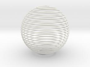 Spiral Sphere in White Natural Versatile Plastic