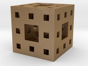 Menger Sponge Pendant in Matte Gold Steel