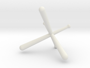 Tri-Bat Baseball Display in White Natural Versatile Plastic