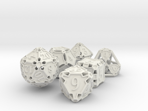 Large Premier Dice Set in White Natural Versatile Plastic