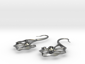 Spine Earrings in Polished Silver