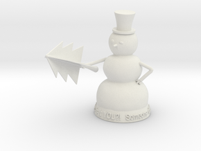 Snowman with tree in White Strong & Flexible