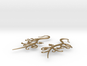 Tendril Earrings in Polished Gold Steel