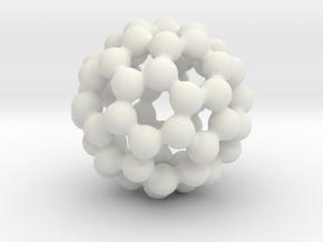 C60 - Buckyball - L in White Natural Versatile Plastic