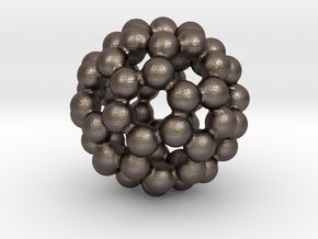 C60 - Buckyball - S in Polished Bronzed Silver Steel