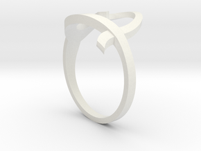 Continuous Heart Ring in White Natural Versatile Plastic