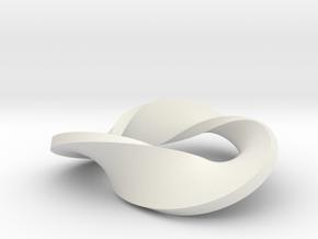 Trefoil moebius - pendant in White Natural Versatile Plastic