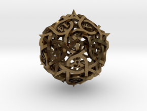 Interwoven Geometric Vines and Thorns D20 in Natural Bronze