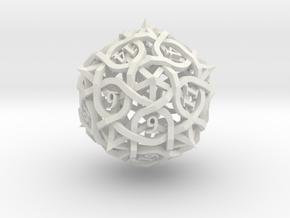 Interwoven Geometric Vines and Thorns D20 in White Natural Versatile Plastic