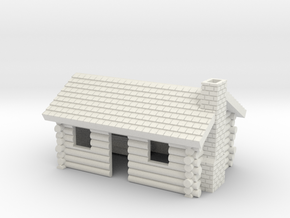 Log Cabin with chimney- Z scale in White Natural Versatile Plastic